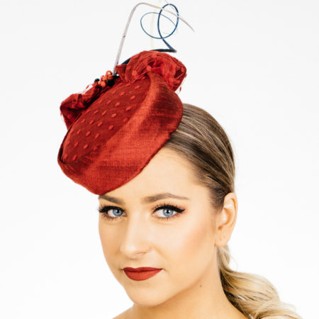 Red Silk Pillbox Hat