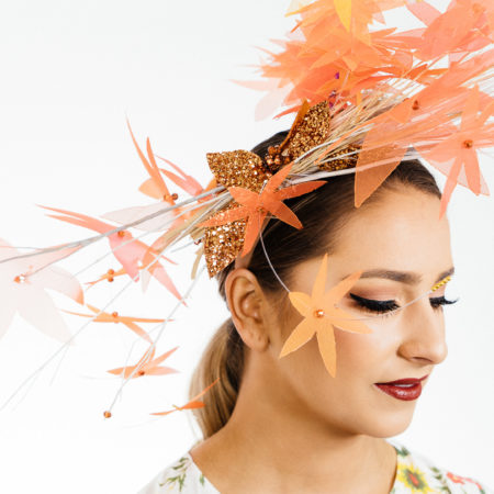 Gold Fascinator Orange Flower