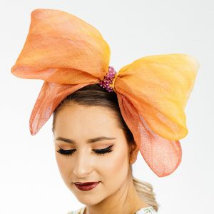 Orange Gold Bow Fascinator