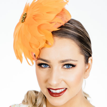 Orange Flower Button Fascinator