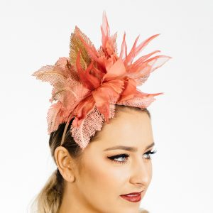 Orange Flower Lace Fascinator
