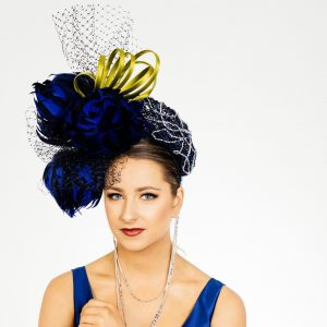 Blue Feather Flower Fascinator