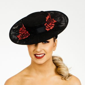 Black Red Boater Hat