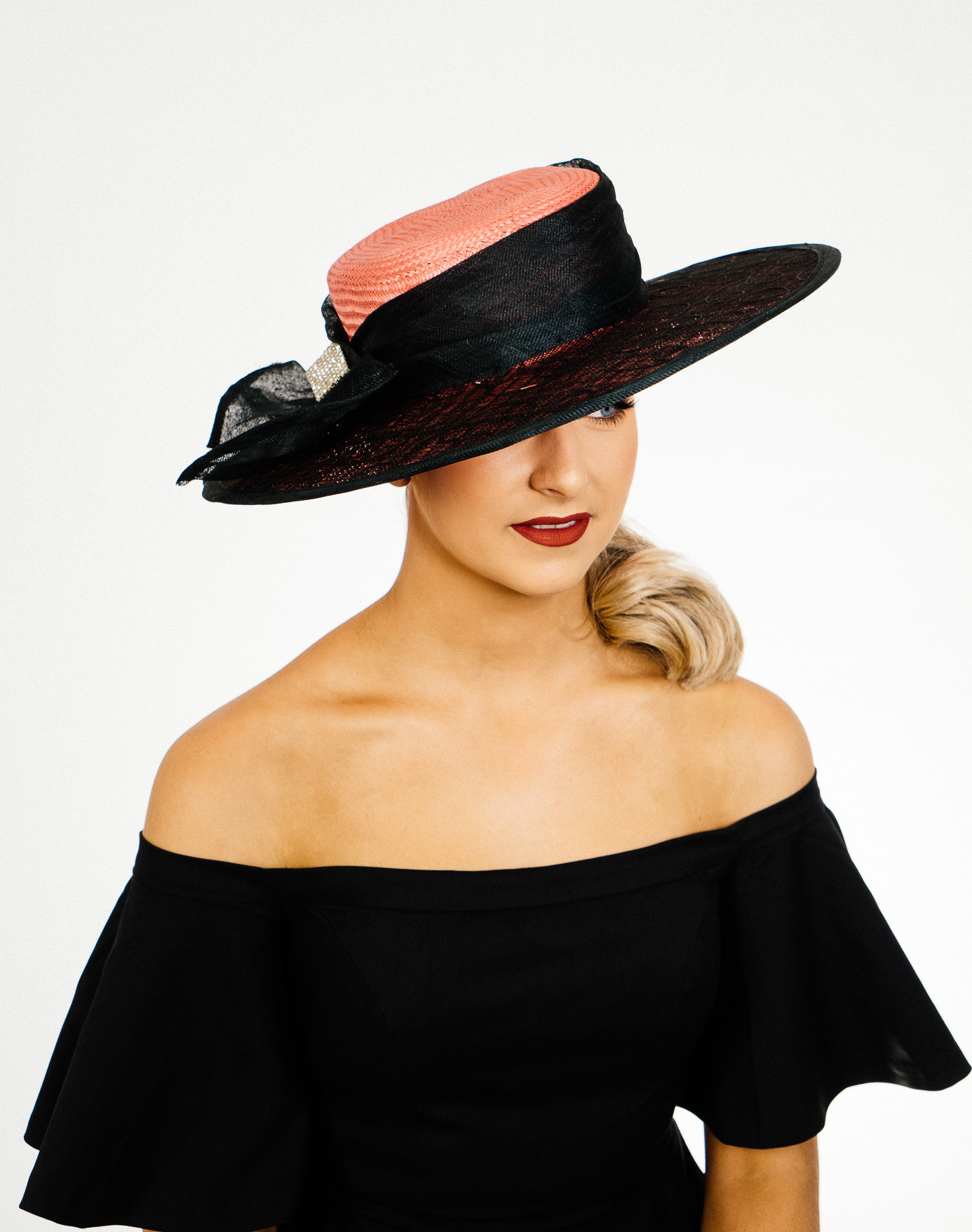 Pink Black Brim Hat