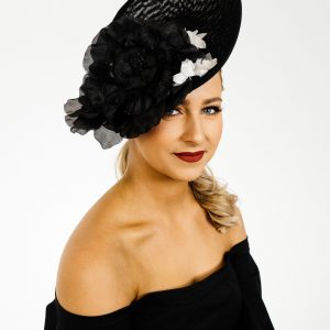 Black White Upsweep Fascinator