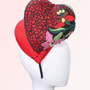 Red Double Heart Fascinator