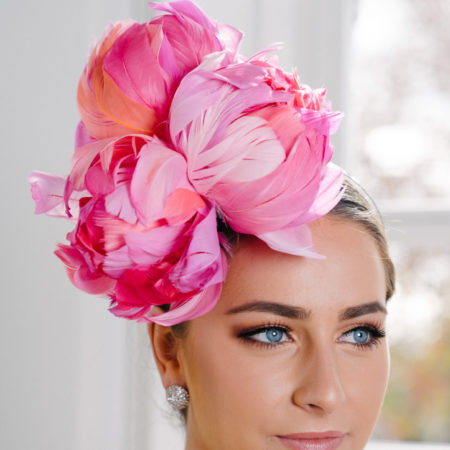 Pink Feather Flower Fascinator