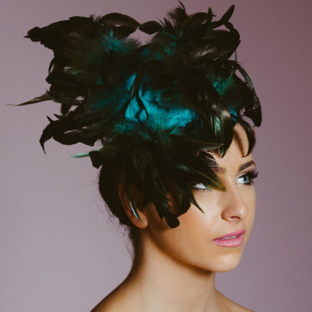 Blue Black Feather Hat