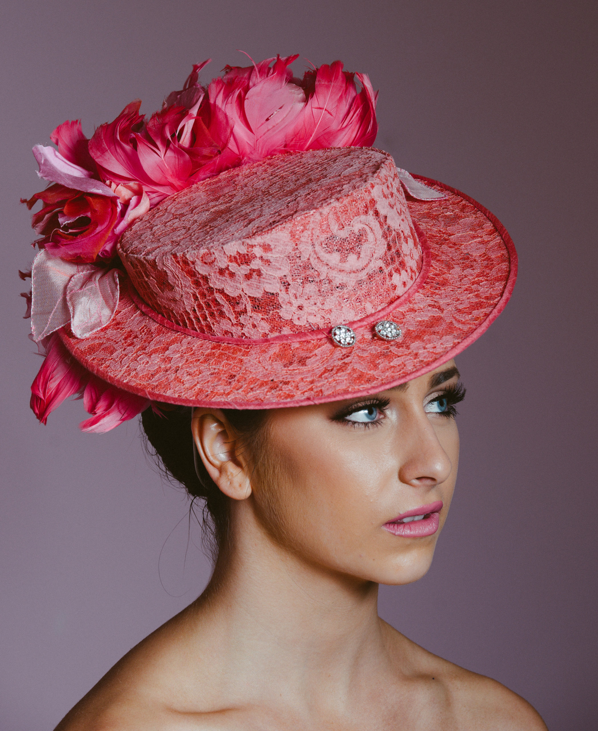 Pink Lace Flower Boater
