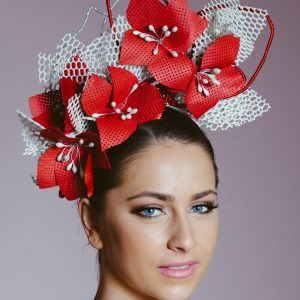 Red White Headband Fascinator