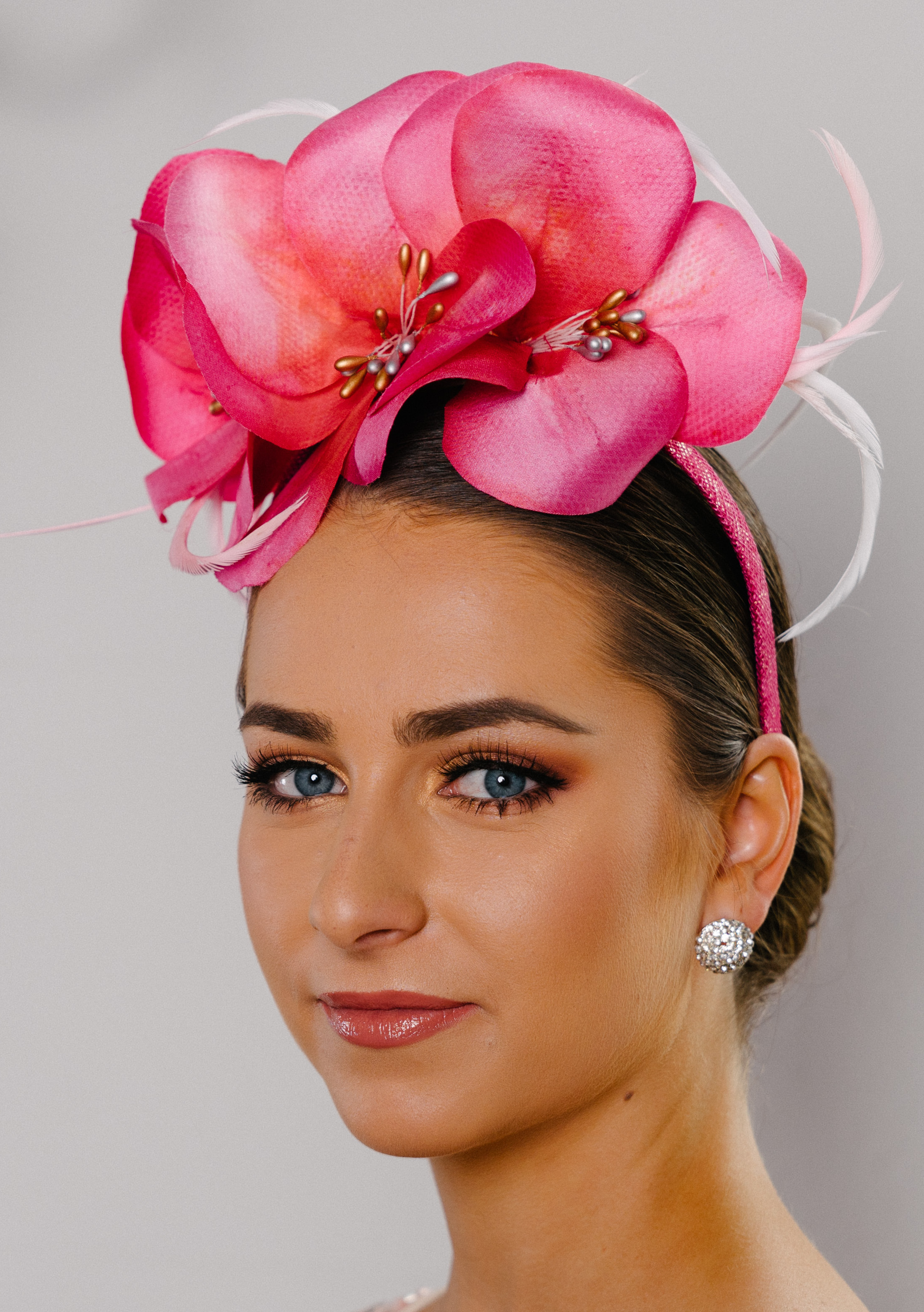 headband silk flowers pink Jilly spring racing