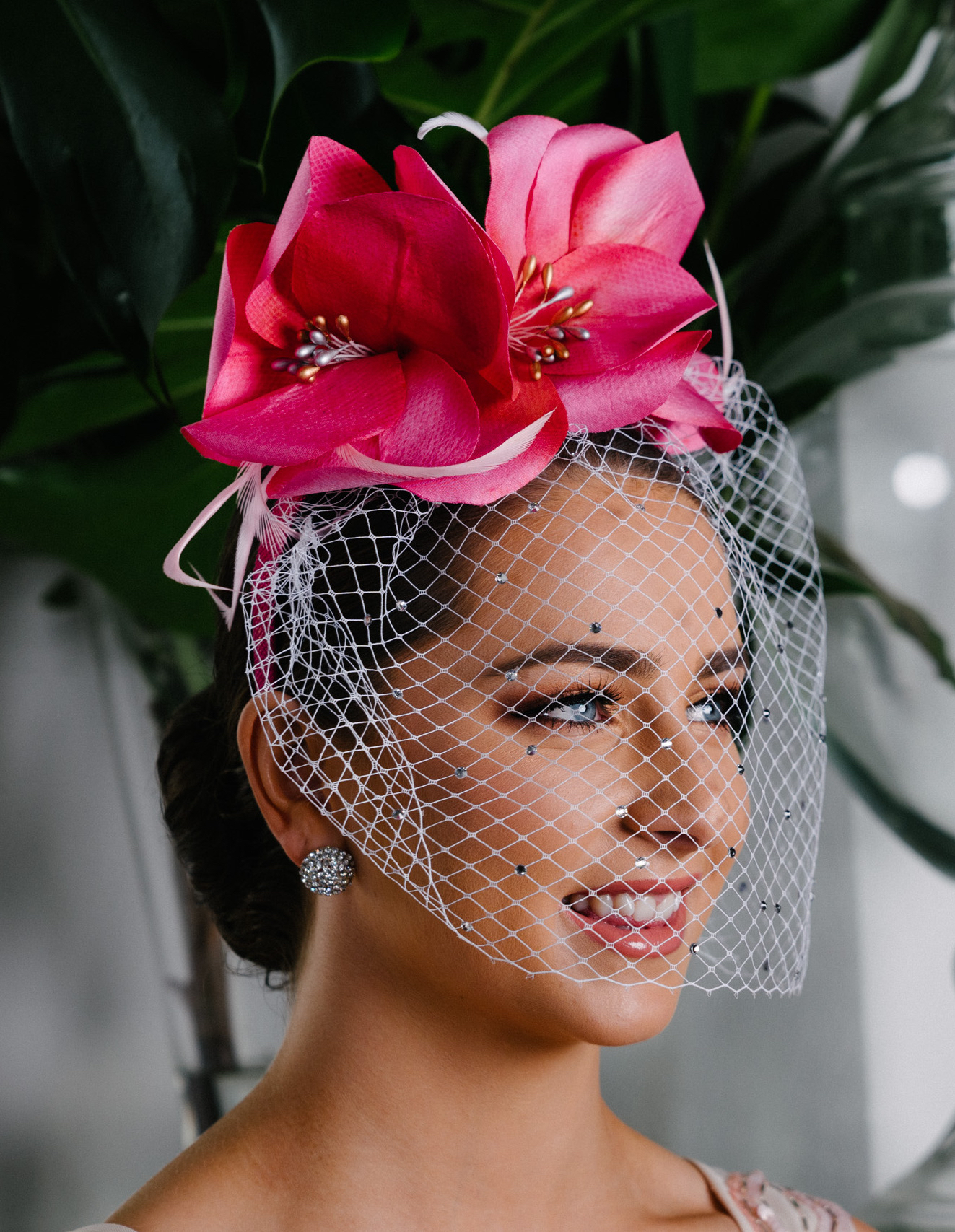 headband silk flowers pink spring racing