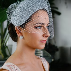 Bridal Silver Glass Headband