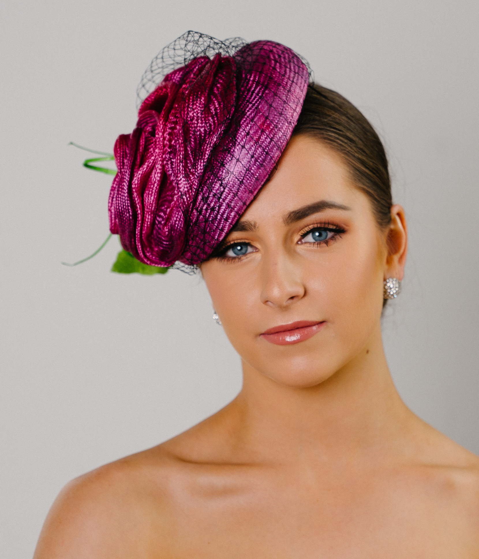 Pink Hat Fashion Button Spring Racing