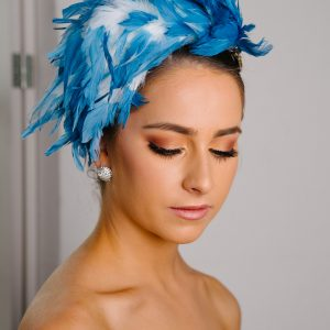 Blue White Feather Fascinator