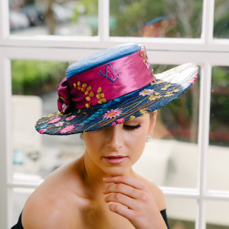 Blue Pink Straw Boater
