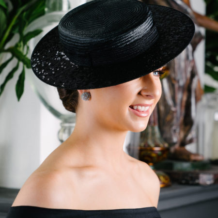Black Straw Boater Hat