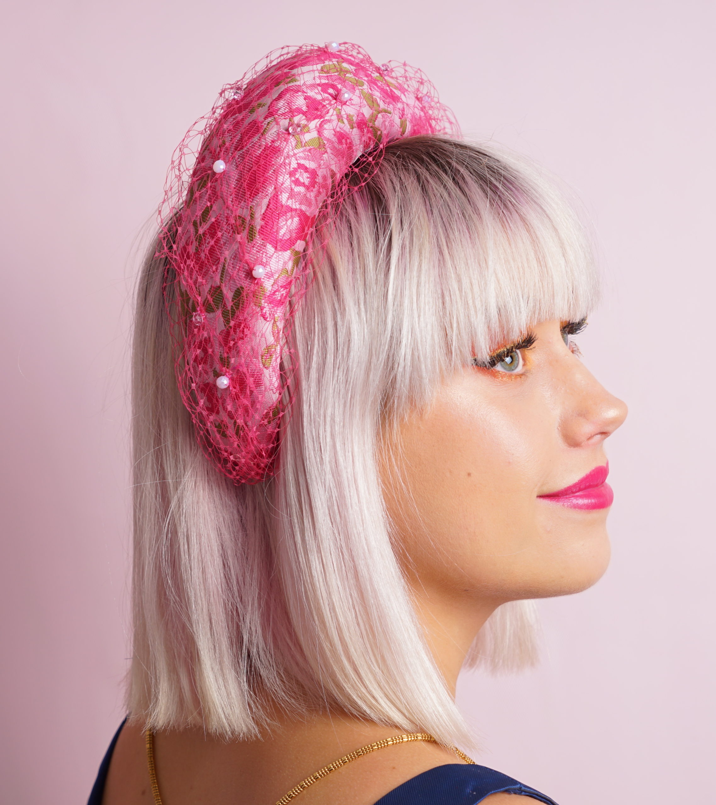 Pink net headband side view