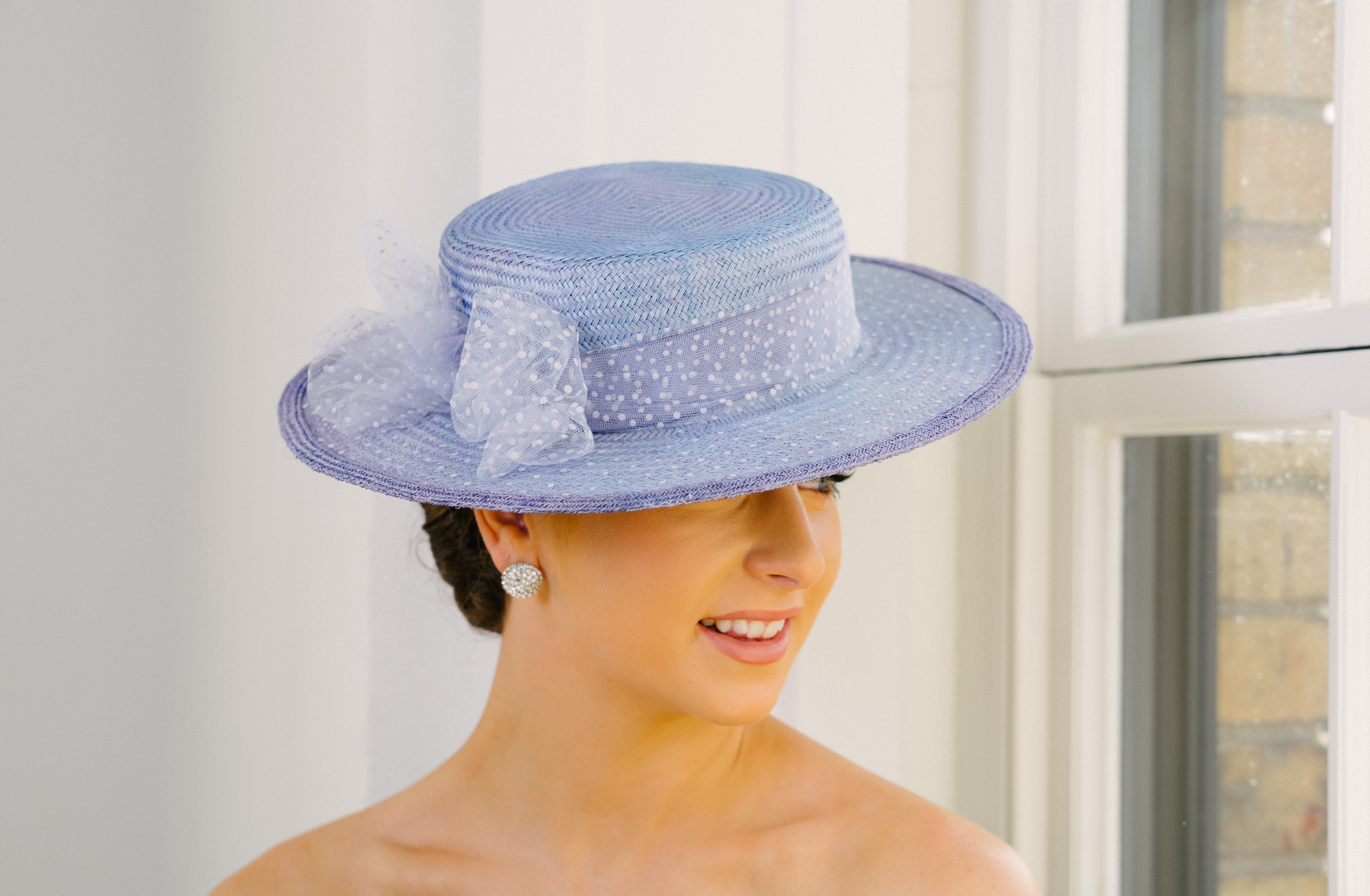 Lavender Straw Boater Hat