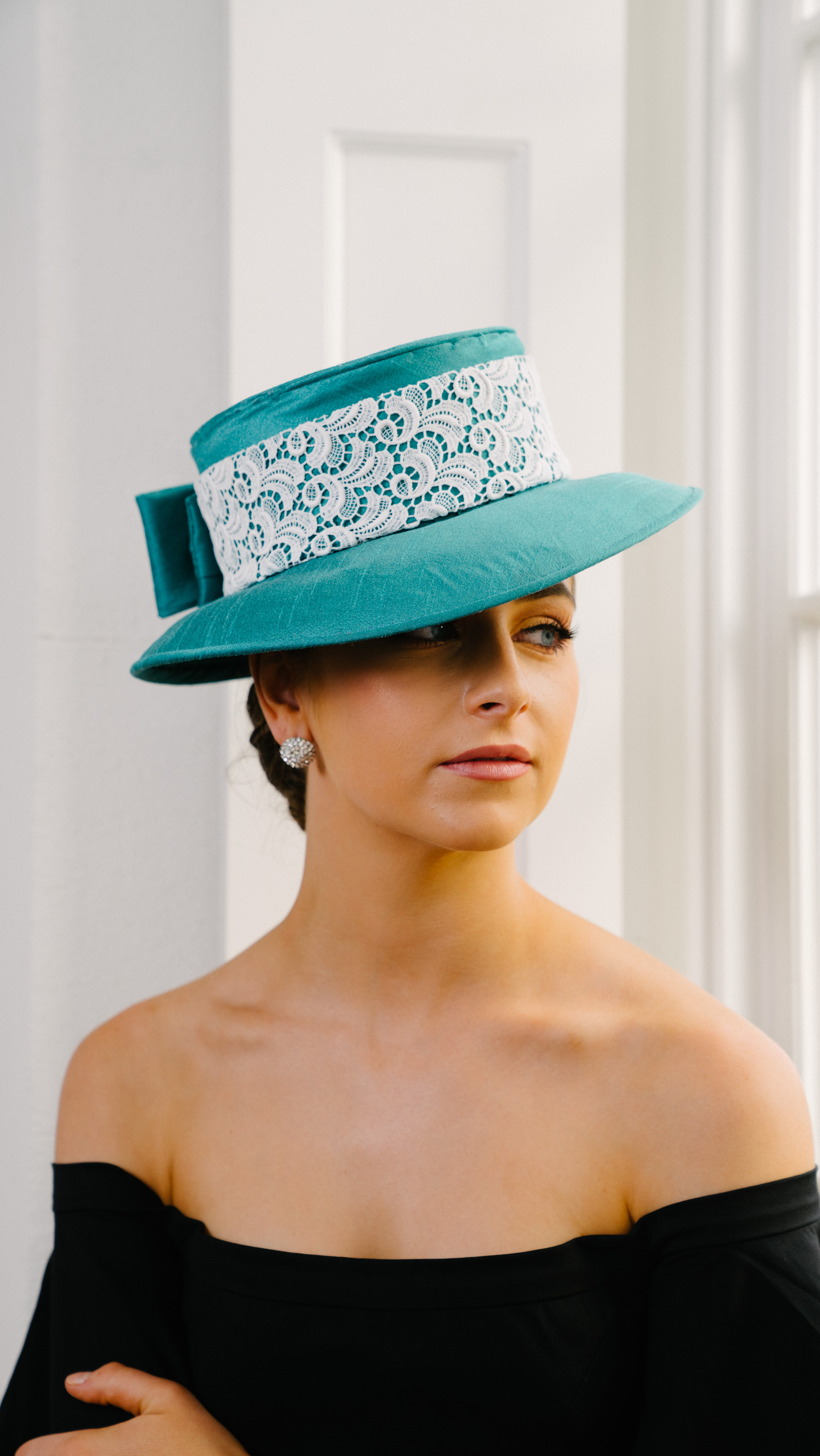 Hat teal Dior brim lace trim