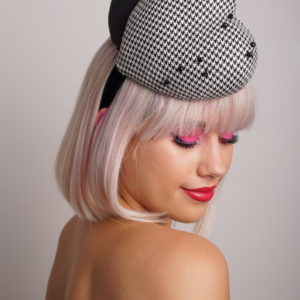 b/w double heart fascinator front