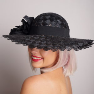 Black Crochet Raffia hat