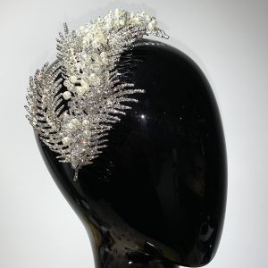 Crystal Beaded Leaf Comb