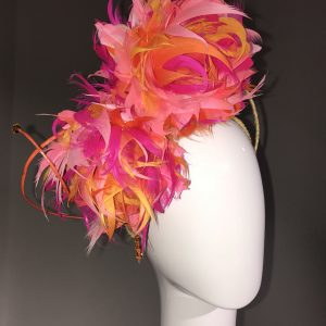 Pink Feather Flowers Fascinator