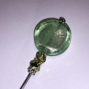 Silver Green Glass Hatpin