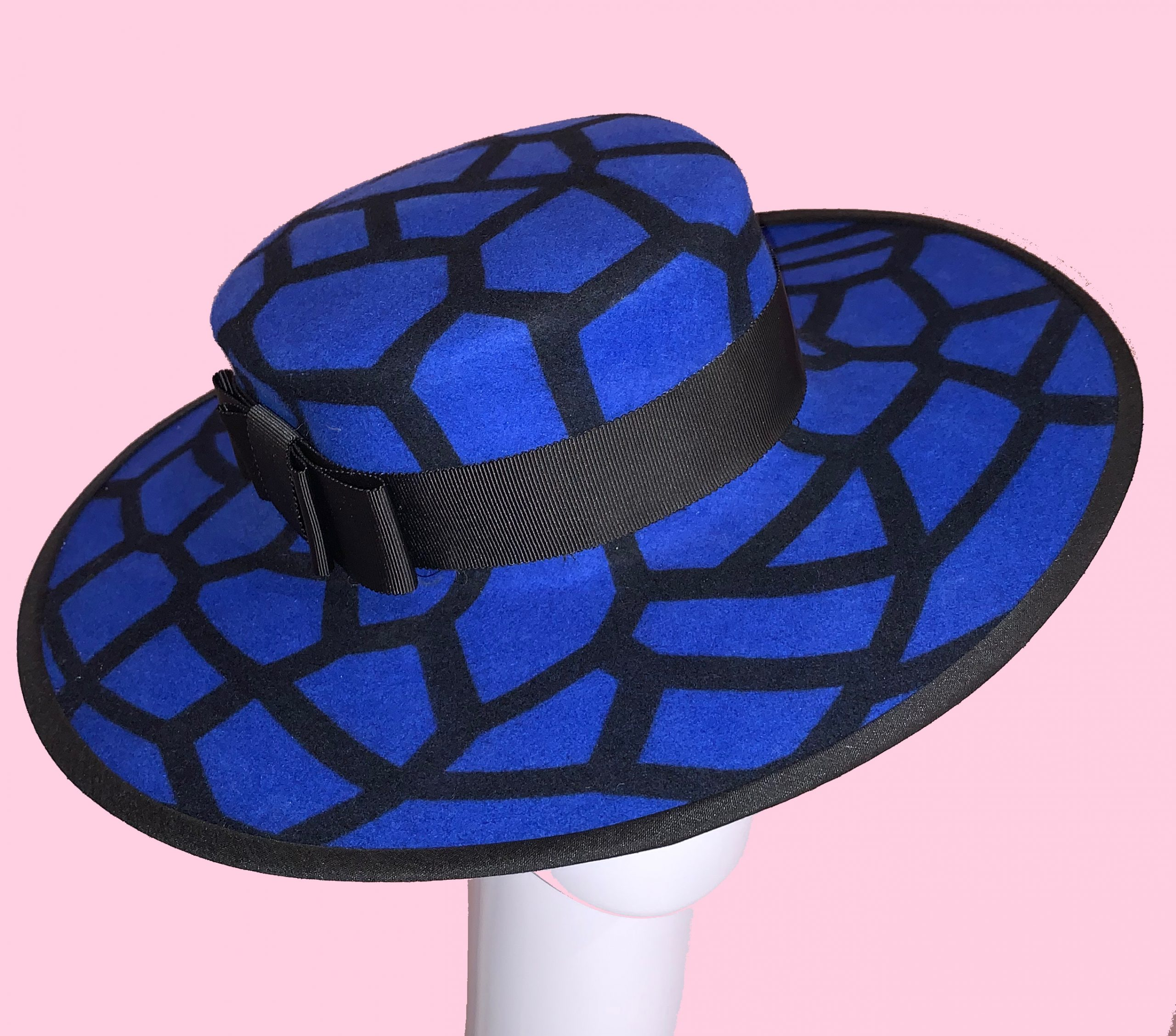 Blue Felt Boater Hat