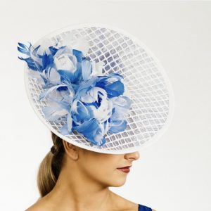 Blue White Upsweep Hat