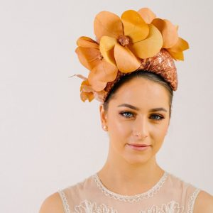 Orange Flower Headband Fascinator