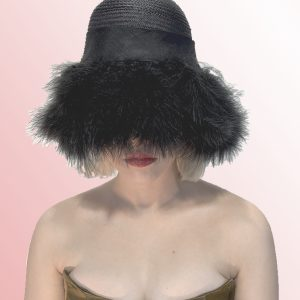 Black Feather Cloche Hat