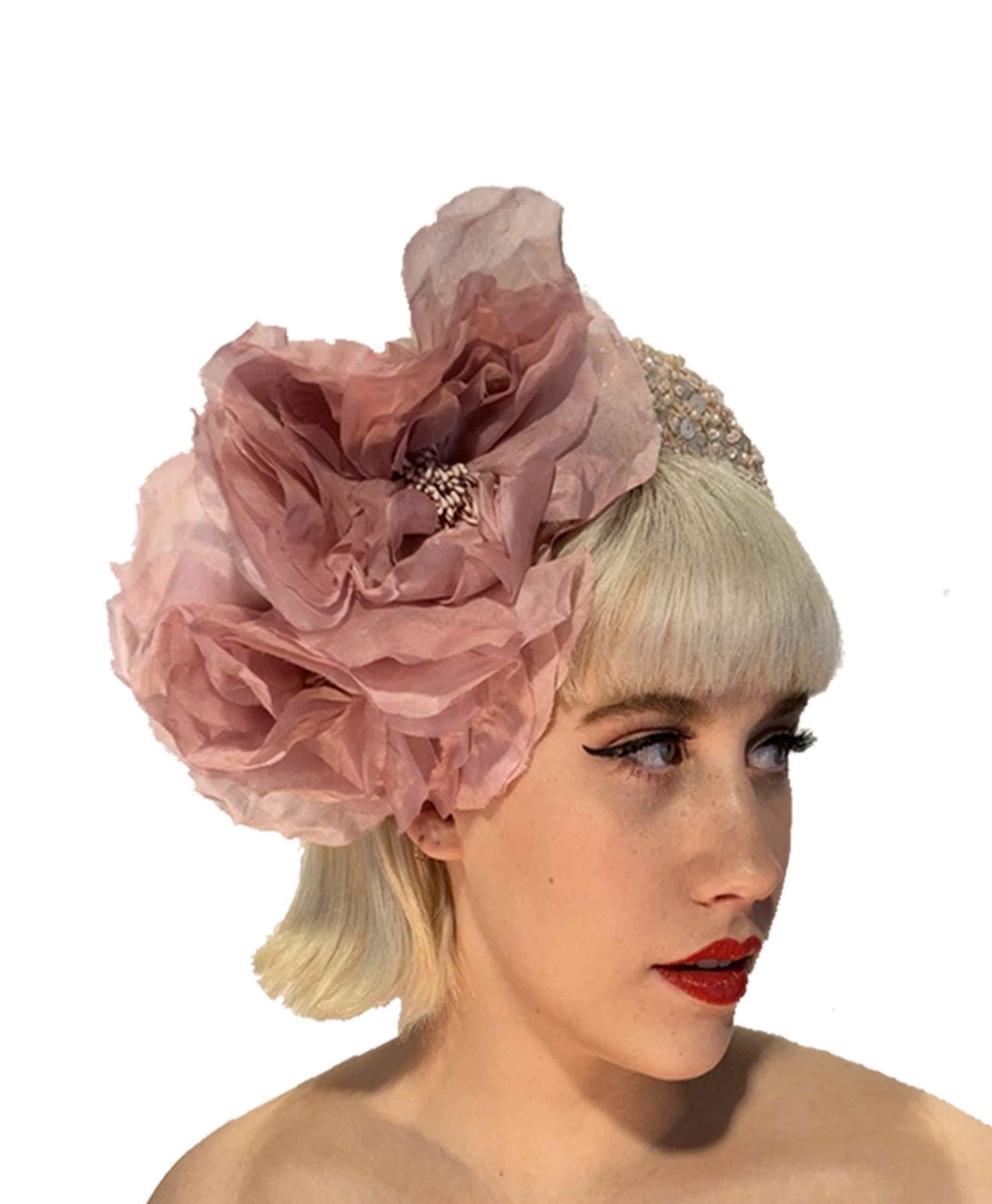 Pink beaded silk fascinator