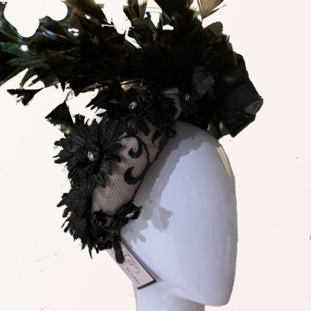 Black Feather Percher Hat