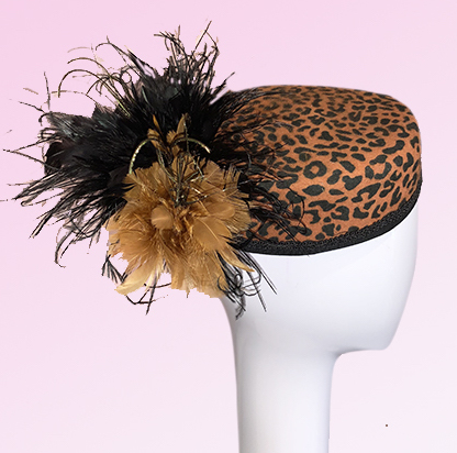 Leopard print bellboy hat