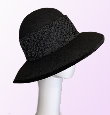 Black Felt Brimmed Hat