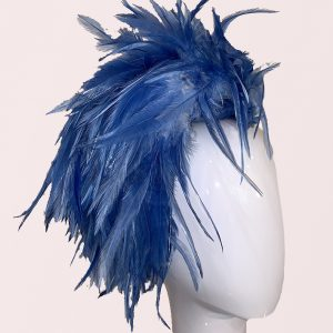Blue feathered headband hat