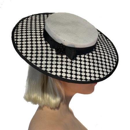 White Black Boater Hat