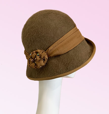 Brown Fur Felt Cloche