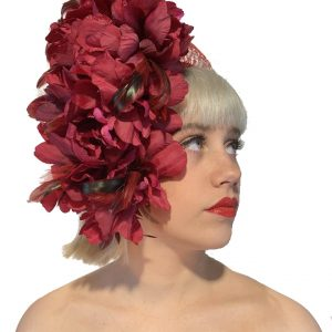 Red Burgundy Flower Headband
