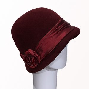 Burgundy Fur Felt Cloche