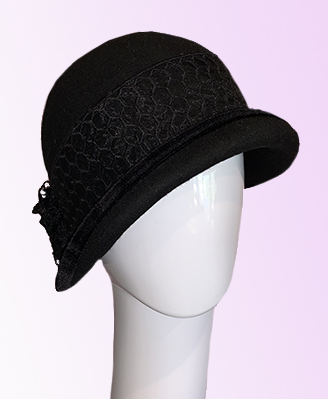 Black wool felt cloche