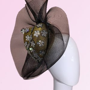 Heart Shaped Olive Green Fascinator