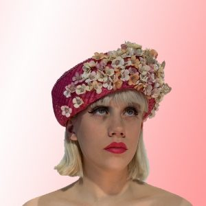Pink Silk Flowered Cloche