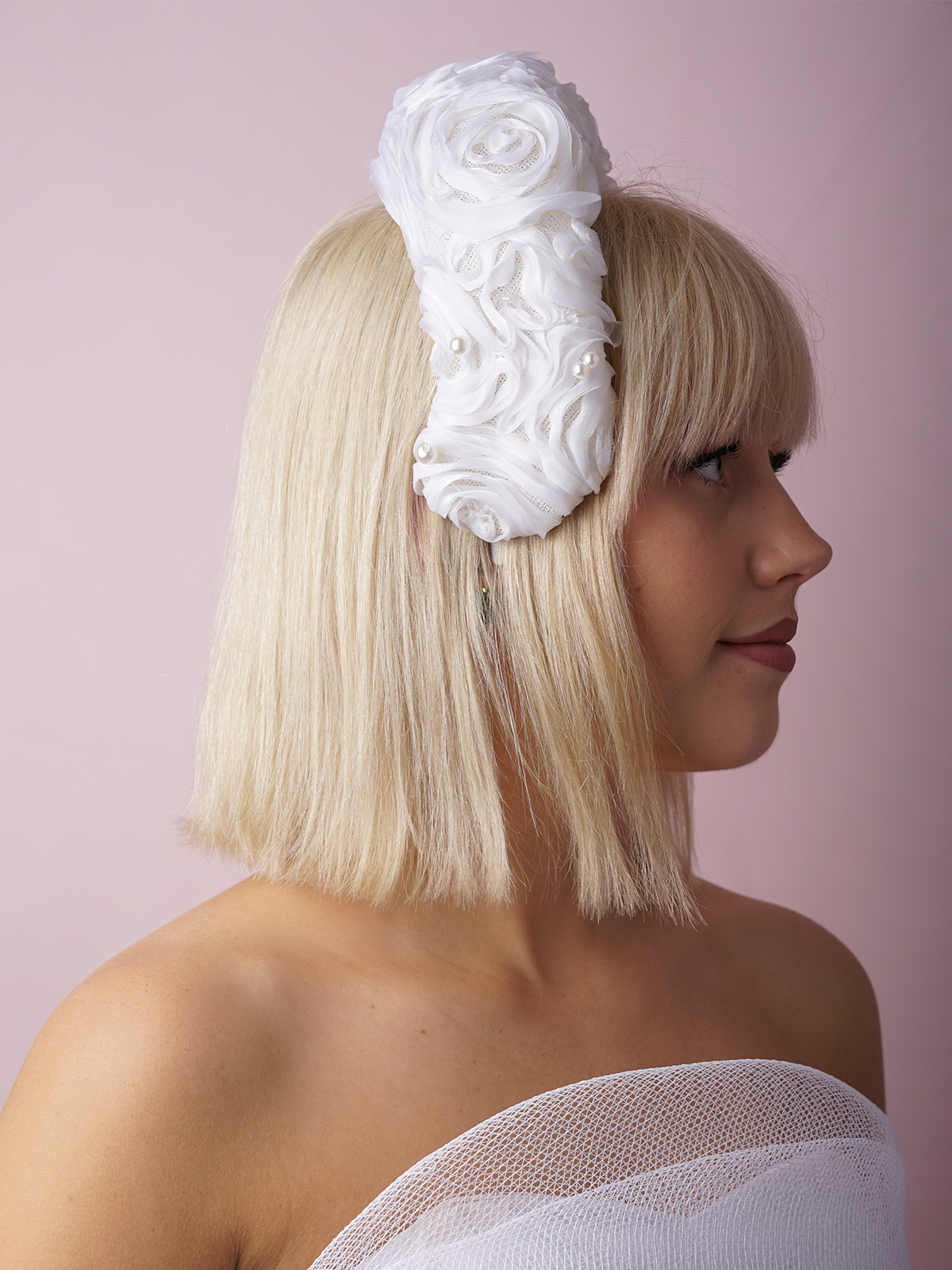Bridal Grace curved silk ribbon headband