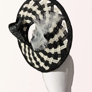 Black White Spiral Fascinator