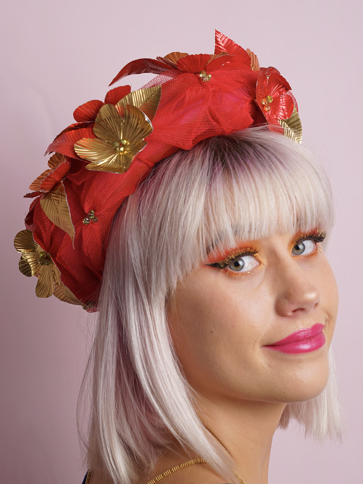 Red Tulle Metal Flower Halo