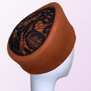 Rust Felt Pillbox Hat