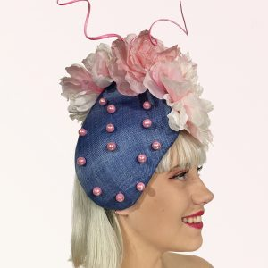 Blue Pink Button Hat